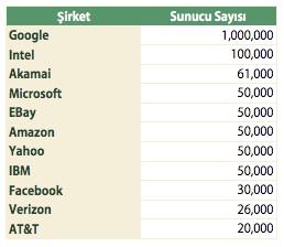 Dünya İnternet Şirketleri Sunucu Sayıları